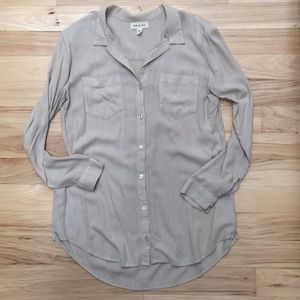 Tops - Cloth and Stone beige flowy long sleeve blouse M